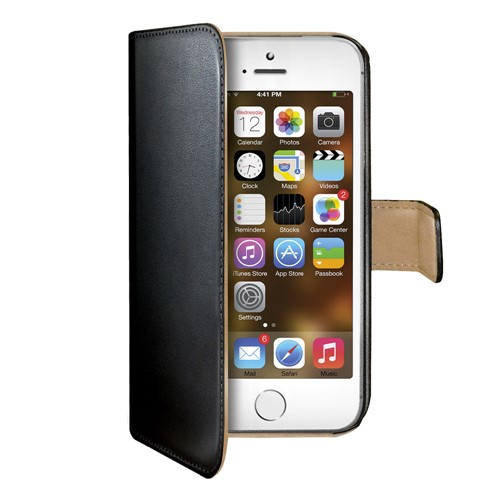 Celly Wallet Flipcover iPhone SE Black