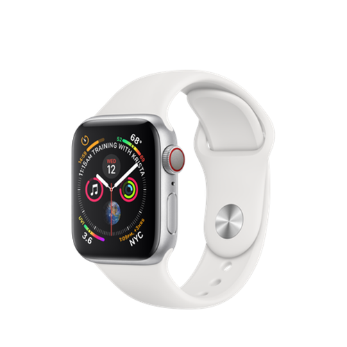 Apple Watch Series 4 eSim, 40mm Silver Aluminium Case with White Sport Band