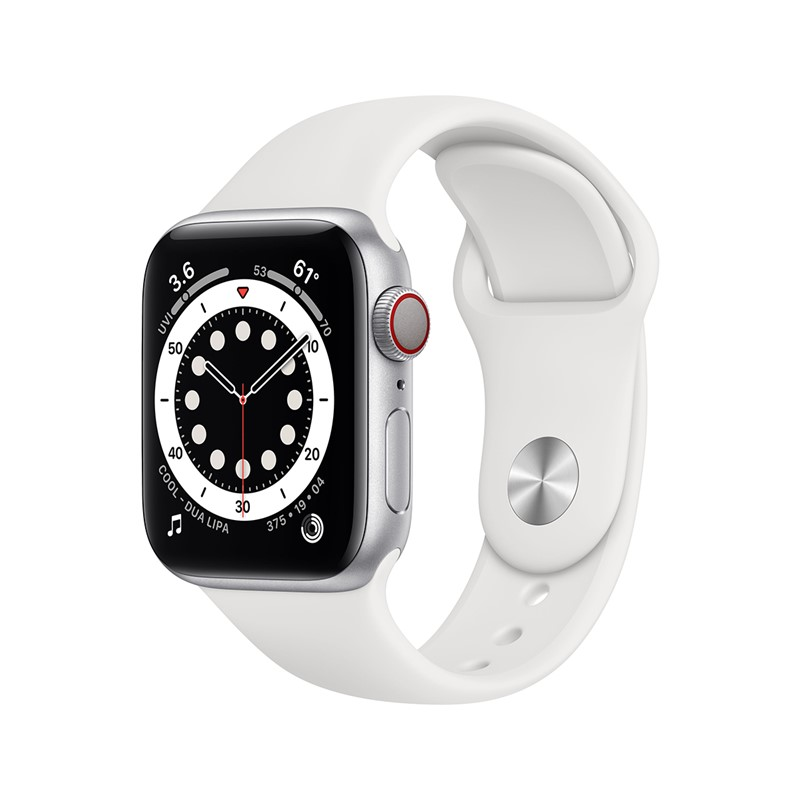 Apple Watch Series 6 40mm Alu Silver + Cellular White Band