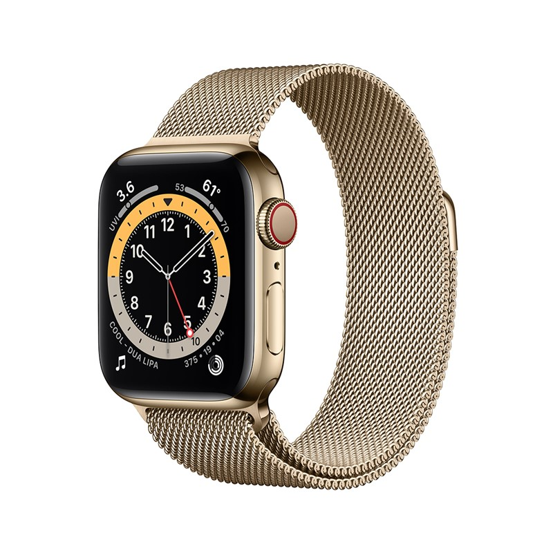 Apple Watch Series 6 40mm Rustfri stål Gold + Cellular Gold Milanese